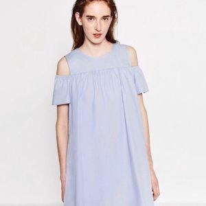 ZARA blue cold shoulder dress-like romper M
